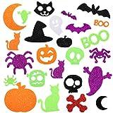 Halloween Foam Stickers Glitter Foam Stickers Halloween Self-Adhesive Craft Stickers with Pumpkin Ghost Design Halloween Party Decorations, 500 Pieces