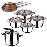 San Ignacio Olla PRESIÓN 7L Duna + BATER�A Cocina 8 PCS SIP + Set 3 SARTENES Professional Chef Chopper Plus, Cromado, Única