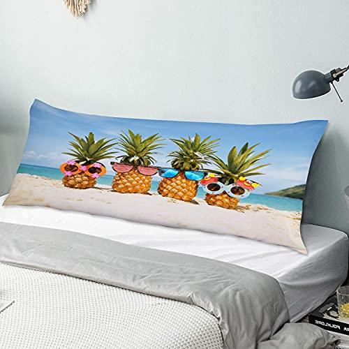 Personalizado Funda de Almohada Larga Suave,Gafas de Sol Piñas Summer Beach,Funda de Almohada para el Cuerpo con Oculto Cremallera Cierre Microfibra Decor del Hogar Sofá para Dormitorio,54' x 20'