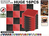 エースパンチ 新しい 16ピースカラーコンビセット赤と黒 500 x 500 x 50 mm ウェッジ 東京防音 ポリウレタン 吸音材 アコースティックフォーム AP1134