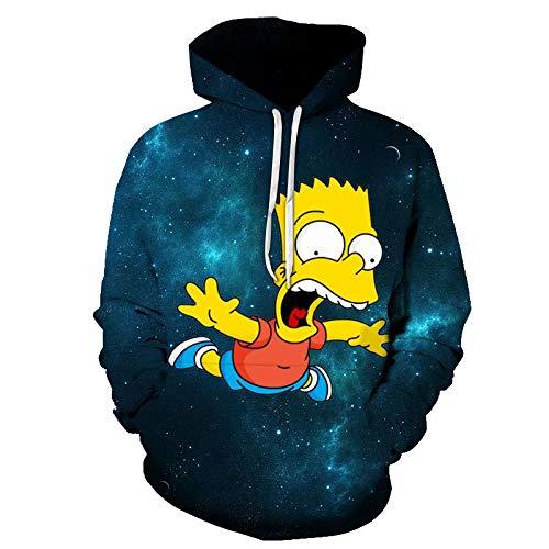CIGZN Kapuzenpullover,Unisex 3D Simpson Hoodie Druck Kapuzen Langarm Pullover Mit Tasche@M