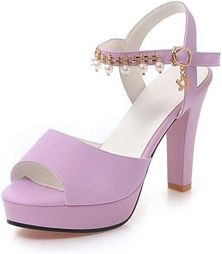 Zapatos De Tacón Europa Y América Damas Moda PU 10Cm Salvaje Sexy Simple Y Cómodo Sandalias De Tacón Alto Gruesas