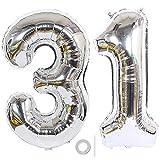 Ceqiny 40 pouces 31ème numéro ballon mylar ballon géant ballon alphabet aluminium pour fête d'anniversaire mariage douche nuptiale engagement séance photo décoration, chiffre argent 31 ballon