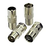 Superbat F Female/Male to TV Pal Male/Female RF Coaxial Adapter Connectors Kit 4 Pcs