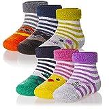 Kids Baby Boy Girls Wool Socks Thick Animal Stripe Winter Soft Warm Thermal Child Toddler Boot Cozy Crew Socks 6 Pairs (Cartoon Animal, 0-12 Months)