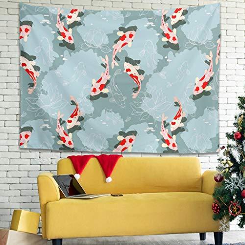 XunYun Tapices para colgar en la pared con diseño de peces koi japoneses con decoración étnica para sala de estar o dormitorio, color blanco 40 x 59 pulgadas