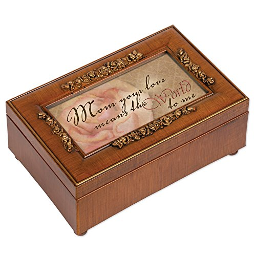 Price comparison product image Cottage Garden Mom Your Love Means World to Me Woodgrain Embossed Jewelry Music Box Plays Wind Beneath My Wings