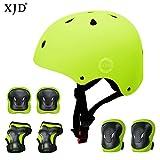 XJD Set de Protection Vélo Enfants Casque Ajustable Genouillères Coudières Protège-Poignets 7 en 1 Kit Complet de Protection Garçons Filles de 3-8 Ans pour Skateboard Trottinette BMX (Jaune)