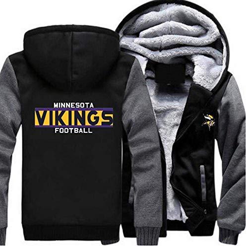 N/G Herren Rugby Hoodie-Minnesota Vikings Reißverschlussjacke, weiche und hautfreundliche Langarmjacke (Größe: M-6XL)