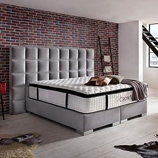 Schlichter Möbel Lit à sommier tapissier Clarence Deluxe (180 x 200, velours gris)