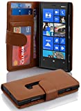 Cadorabo Book Case Works with Nokia Lumia 920 in Cognac Brown - with Magnetic Closure and 3 Card Slots - Wallet Etui Cover Pouch PU Leather Flip