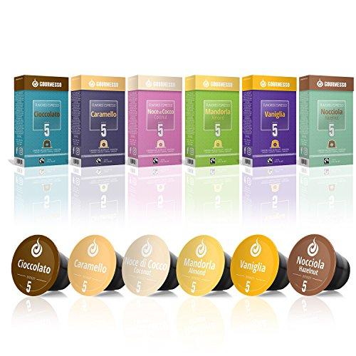 Gourmesso Flavour Box – 60 Nespresso kompatible Kaffeekapseln – 100 % Fairtrade – 6 ausgefallene Geschmacksrichtungen