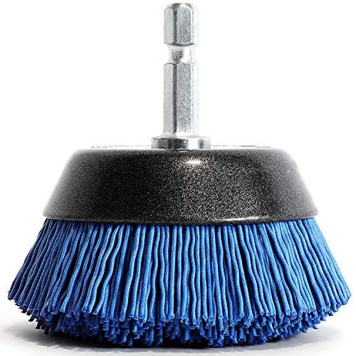 S&R Spazzola per Trapano e Smerigliatrice in Nylon MORBIDA per pulire e lucidare Legno Ferro Metalli Acciaio Fughe Piastrelle Pavimenti. Codolo esagonale 1 4  (6,35 mm)