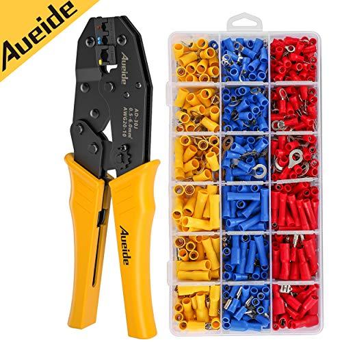 Aueide Crimpzange Set Kabelschuhe Zange Set Krimpzange für Kabelschuhe mit 700 Stück Isolierten Kabelschuhen Elektrische Steckverbinder Quetschverbinder, 27 Arten von Flachstecker AWG20-10 (0,5-6 mm²)
