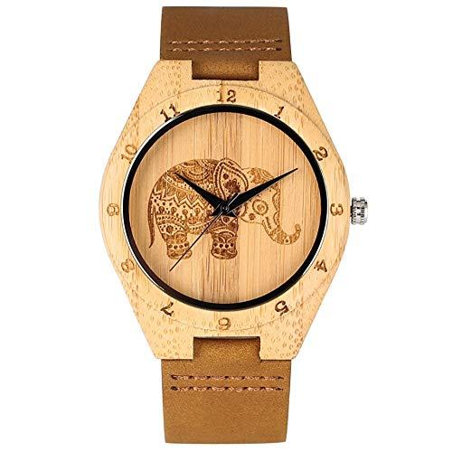 UIOXAIE Reloj de Madera Reloj de bambú con Grabado de Elefante de Tailandia, Reloj de Madera de Cuero para Hombres, Reloj de Pulsera de Cuarzo, Relojes para Mujeres, Horas de Reloj pa