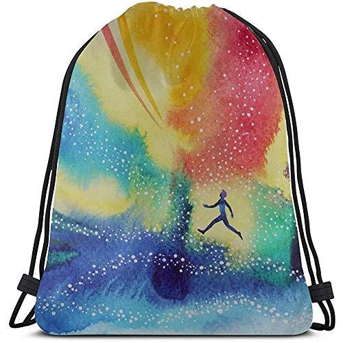 Bouia Lazy Creatief open schilderij-make-up tas met trekkoord polyester camp trekkoord tas tassen party voor fitness-studio-reizen