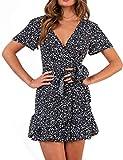 Relipop Summer Women Short Sleeve Print Dress V Neck Casual Short Dresses (X-Large, Type 1)