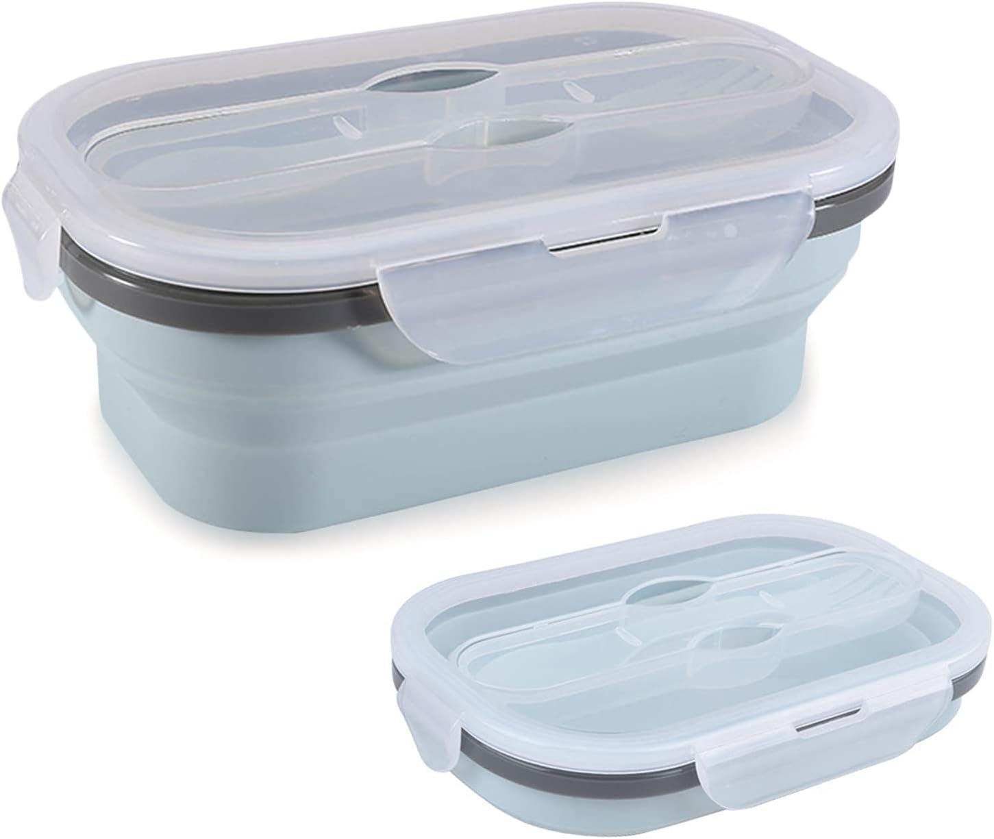 Gsrhzd Fiambrera Plegable, Fiambrera Plegable de Silicona, Plegable, fácil de Transportar, Apto para almacenar y conservar Alimentos (Azul)