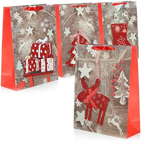 com-four® 4X XL Geschenktüte für Weihnachten, Nikolaus und Advent - Geschenktasche mit Weihnachtsmotiv - Geschenkbeutel [Auswahl variiert] (04 Stück - roter Glitzer)