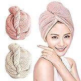 O-Kinee Asciugamano Capelli a Turbante, Capelli asciutti da 2pacchi Asciugamani in Microfibra Asciugacapelli Rapido Hair Towel Teli Doccia e Sauna (Rosa + Grigio)