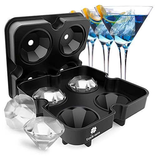Ice Cube Trays Mold, Todram 3D Diamond-Shaped Flexible Silicone Ice Tray with Spill-Resistant Removable Lid and Funnel for Cocktail Whisky Bourbon Pudding Chocolate BPA Free
