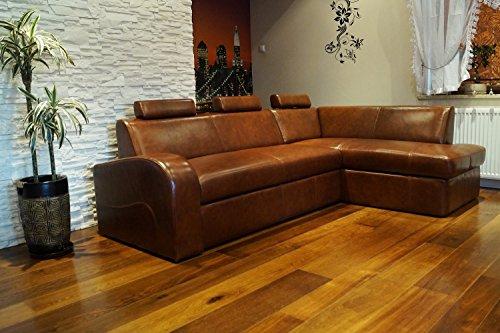 Quattro Meble hoekbank Antalya II 3z 245 x 164cm sofa bank met slaapfunctie, bedlade en hoofdsteunen, hoekbank echt leer antiek bruin 3000