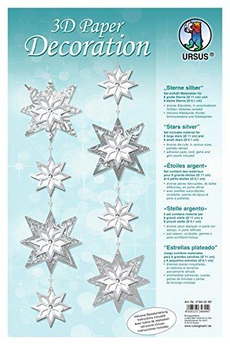 Ursus 21840099 - 3D Paper Decoration Sterne, silber
