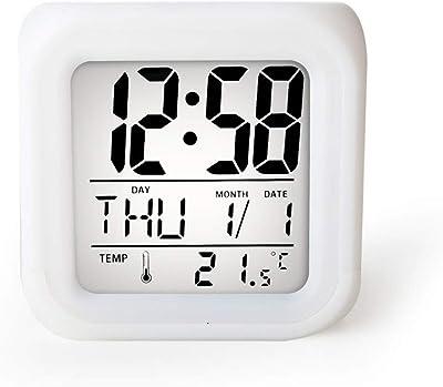 Minmin-naozhong Reloj de Alarma Digital, Reloj Despertador Reloj Despertador con Pilas Reloj Despertador