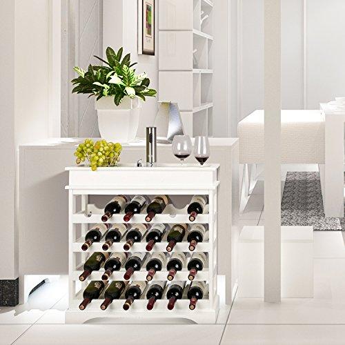 HOMFA Weinregal Flaschenregal für 24 Flaschen aus weißem Holz - 6