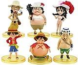 GYINK 6 unids / Set una Pieza Mini decoración muñecas Luffy Nami Traje de baño Piratas PVC Figuras de acción Juguetes 5-10Cm