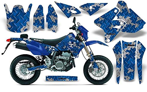 AMR Racing MX Dirt Bike Graphics kit Sticker Decal Compatible with Suzuki DR-Z400 2000-2018 - Camoplate Blue