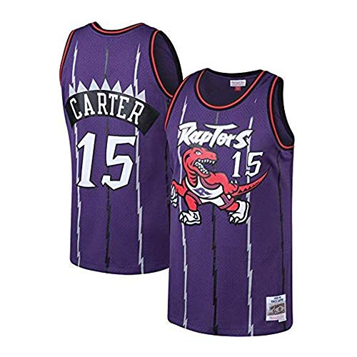 YB-DB NBA Herren-Basketball-Jersey # 15 Vince Carter - NBA Toronto Raptors, New Stoff gestickter Swingman Jersey Sleeveless Shirt,XL (85~95kg)