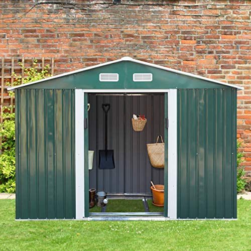 Large Capacity Steel Metal Storage Shed High Gable, for Utility Tool Storage, Gable Roof, Green,6.3' x 9.1'