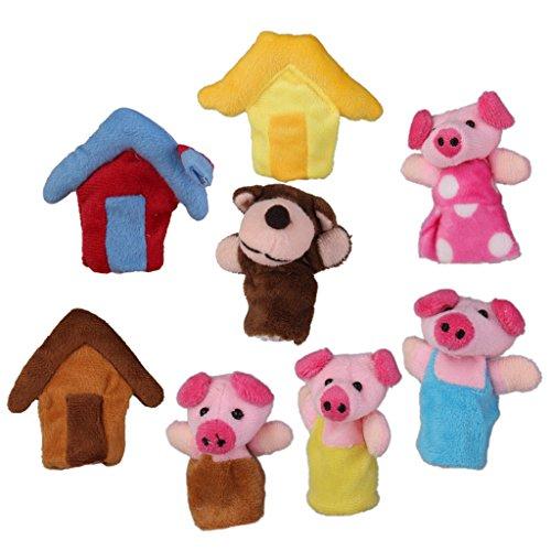 Baoblaze Títeres Marionetas de Dedo Animal Juguete de Mano para Niños - Los Tres cerditos (8 pcs)