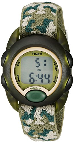 professional Timex Boys T71912 Time Machine Watch Digital Green Camouflage Elastic Fabric Strap
