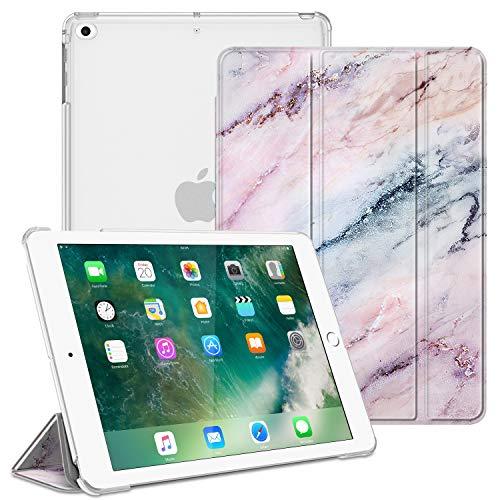 Fintie Hülle für iPad 9.7 Zoll 2018/2017 - Ultradünn Schutzhülle mit transparenter Rückseite Abdeckung Cover mit Auto Schlaf/Wach für 9.7 iPad 6. Generation / 5. Generation, Marmor Rosa