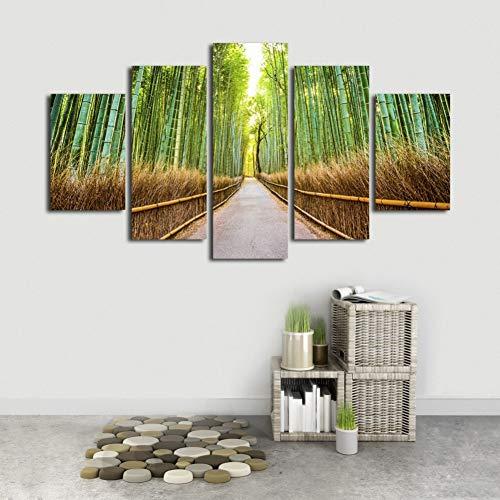 WHFDH Hd Print Poster Canvas Afbeelding 5 stuks Trail Bamboe Landschap Schilderij Decoratie Kamer Moderne muurkunst 10x15 10x20 10x25cm Frame