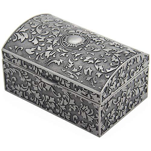 DA HAI Joyero Rectangular de Metal Vintage, Caja de Regalo, Organizador de Joyas, Caja de bisutería, Estuche Tallado para niñas o Mujeres, Color estaño Envejecido