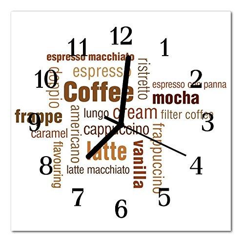 DekoGlas Glasuhr \'Kaffee braun\' Uhr aus Echtglas, eckig große Motiv Wanduhr 30x30 cm, lautlos für Wohnzimmer & Küche