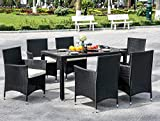Xueliee 7 Pieces Luxury Garden <span class='highlight'>Dining</span> <span class='highlight'>Table</span> <span class='highlight'>and</span> <span class='highlight'>Chairs</span> Outdoor Rattan Furniture <span class='highlight'>Set</span> with Rectangular <span class='highlight'>Glass</span> Top Weatherpro<span class='highlight'>of</span> Wicker Rattan Outdoor Conservatory 6 Seater Patio Furniture <span class='highlight'>Set</span> (Black)