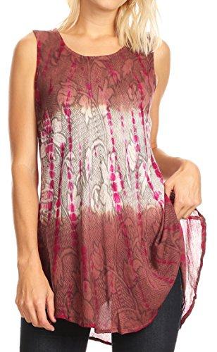 Sakkas 40831 Blusa de túnica sin Mangas Dorada con Estampado de teñido Floral Ombre - Marrón/Crema - Talla única