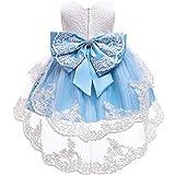 FYMNSI Vestido de niña pequeña o bebé para fiesta de cumpleaños o bautizo, con lazo, flores, encaje, diadema y tutú de tul, para bodas, niña paje, estilo princesa 1 azul 2-3 Años