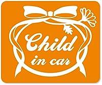 imoninn CHILD in car ステッカー 【マグネットタイプ】 No.29 お花リボン (オレンジ色)