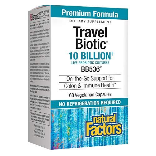 Natural Factors, TravelBiotic, Supports Colon and Immune Health, Shelf Stable Probiotic Supplement, 10 Billion CFU, Vegan, 60 Capsules (60 Servings)