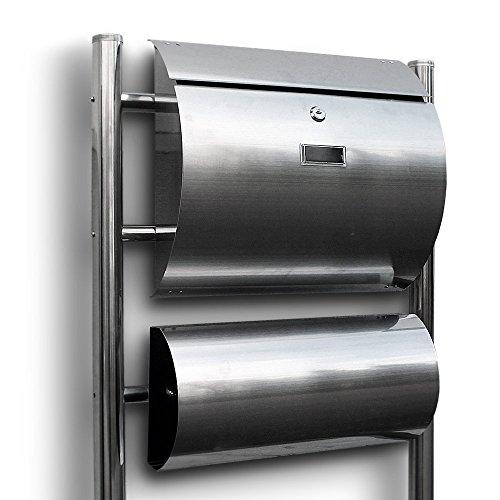 Edelstahl Standbriefkasten Briefkasten Postkasten Mailbox Letterbox Briefkastenanlage Freistehend Halbrund mit seperater Zeitungsrolle