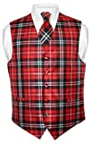 Men's Plaid Design Dress Vest & NeckTie Black Red White Neck Tie Set sz 2XL
