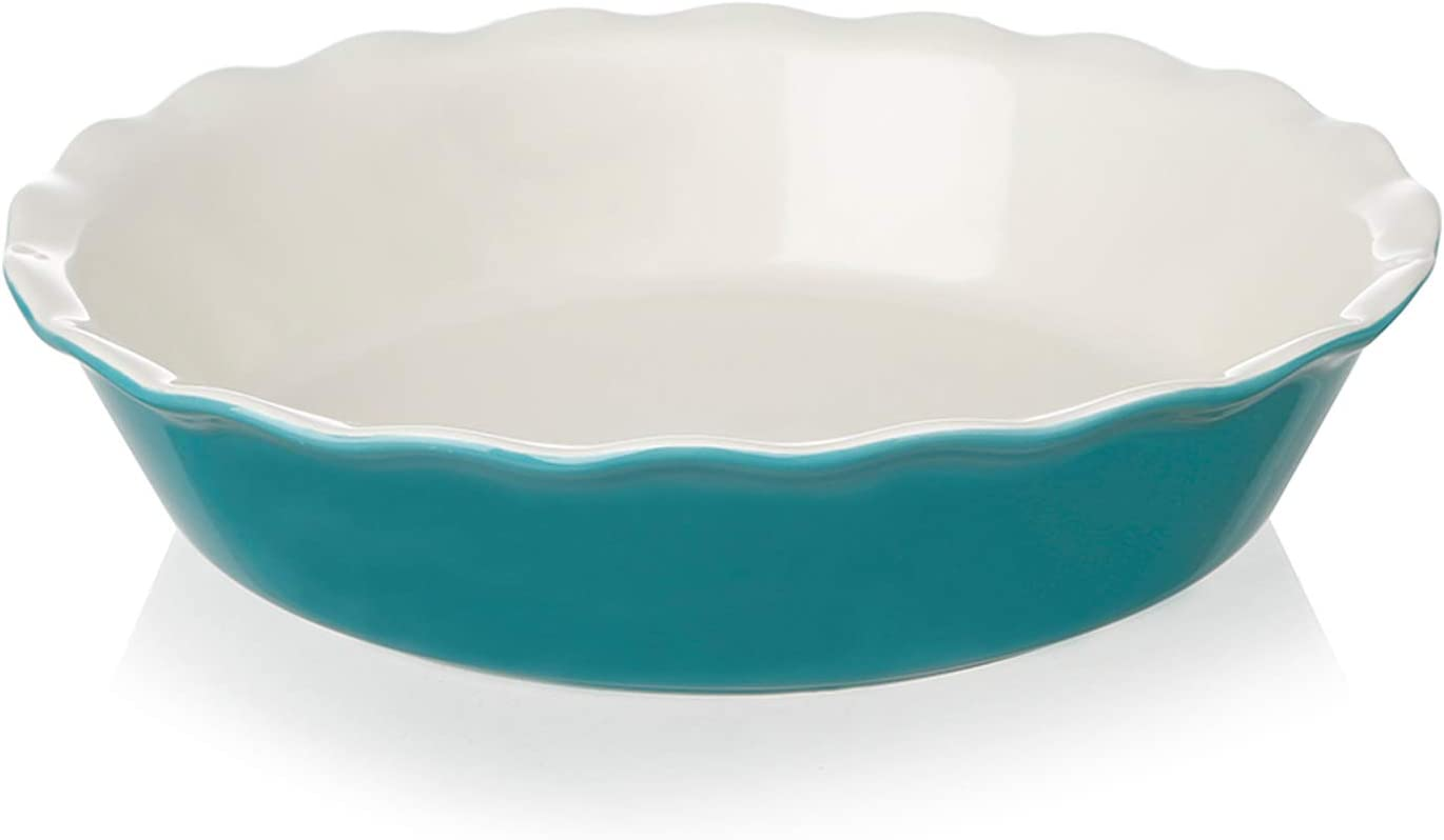 SWEEJAR Ceramic Pie Pan for Shipping included Inches Baking Round 10 Indianapolis Mall Dish