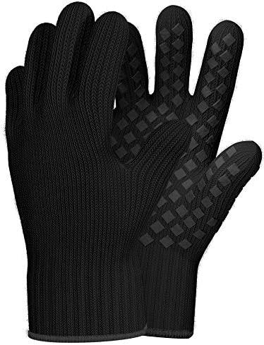 1 Pair Heat Resistant Gloves Oven Gloves Heat Resistant Black BBQ Gloves For Grilling Gloves product image