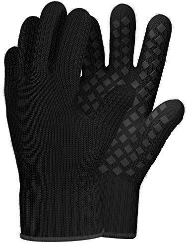 1 Pair Heat Resistant Gloves Oven Gloves Heat Resistant Black BBQ Gloves For Grilling Gloves Cooking Heat Resistant Gloves Kitchen Heat Gloves High Temp Grill Gloves with Silicone MetaAramid