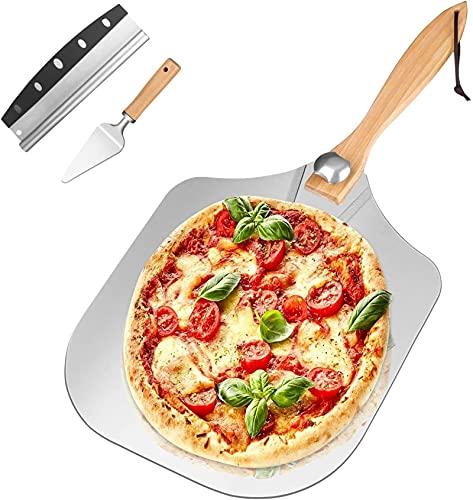 Crimper Peel de Pizza, Pizza de Metal de Aluminio 14'x 12' Espácula de Pizza con Mango de Madera, para Cortador de Pizza y Servidor Agujeros de Pizza adecuados Pasteles Pasteles Pasteles de Pastel